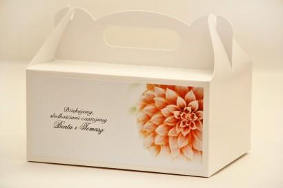 Prostokątne pudełko na ciasto, tort weselny, ślub - Elegant nr 9 - Łososiowa dalia - kwiatowe dodatki ślubne