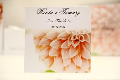 Bilecik Save The Date do zaproszenia ślubnego - Elegant nr 9 - Łososiowe dalie