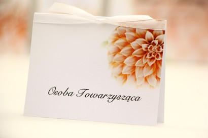 Winietki na stół weselny, ślub - Elegant nr 9 - Łososiowe dalie - kwiatowe dodatki ślubne