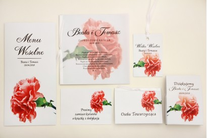 Zaproszenie ślubne z dodatkami - Elegant nr 10 - Różowy goździk - Eleganckie kwiatowe z kalką