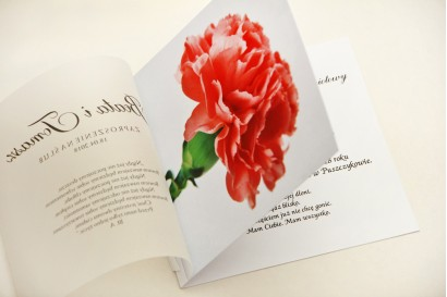 Zaproszenie ślubne, zaproszenia na ślub eleganckie z kalką - Elegant nr 10 - Różowy goździk