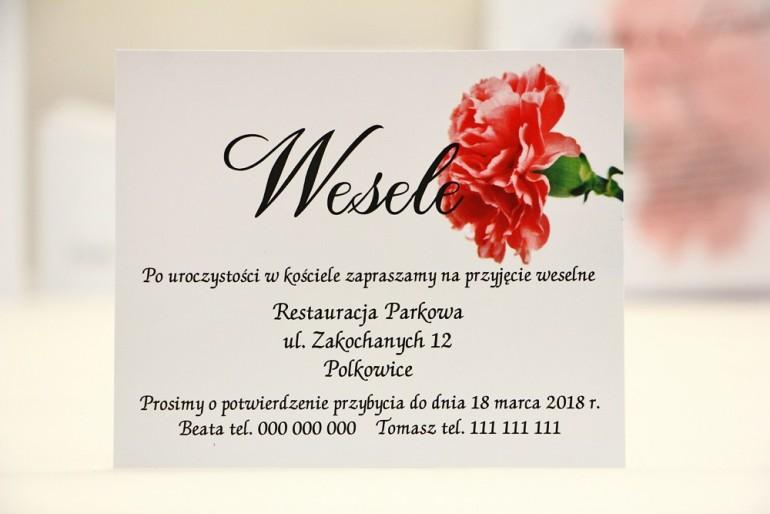 Bilecik do zaproszenia 120 x 98 mm prezenty ślubne wesele - Elegant nr 10 - Różowy goździk