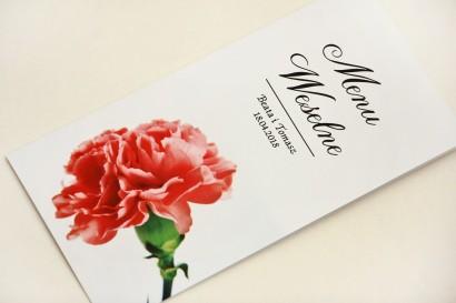 Menu weselne, stół weselny - Elegant nr 10 - Różowy goździk - Eleganckie kwiatowe wzory - dodatki ślubne