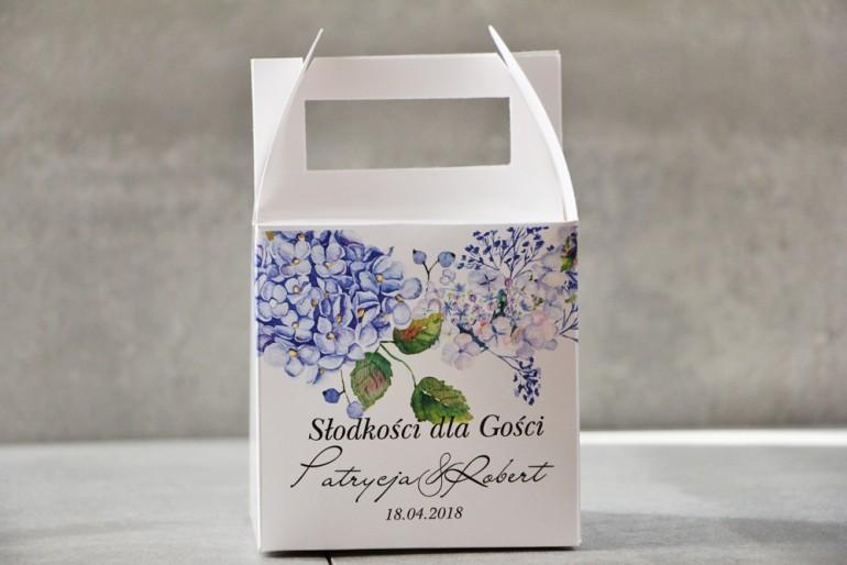 Pudełko na ciasto kwadratowe, tort weselny - Pistacjowe nr 1 - Błękitne hortensje
