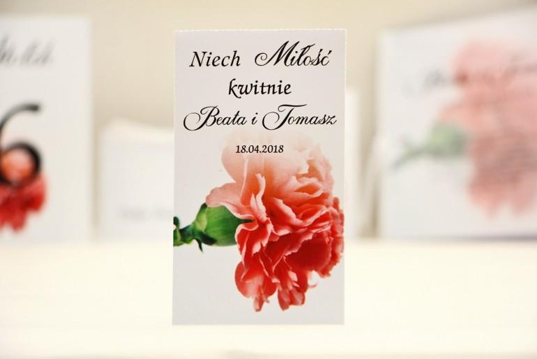Podziękowania dla Gości weselnych - nasiona Niezapominajki - Elegant nr 10 - Różowy goździk - kwiatowe dodatki ślubne