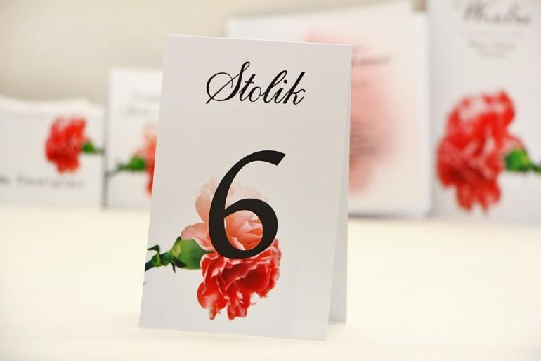 Numery stolików, stół weselny, ślub - Elegant nr 10 - Różowe goździki - dodatki ślubne