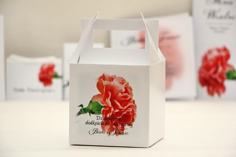 Pudełko na ciasto kwadratowe, tort weselny - Elegant nr 10 - Różowy goździk - kwiatowe dodatki ślubne
