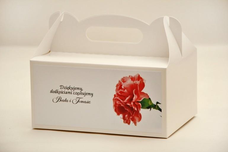 Prostokątne pudełko na ciasto, tort weselny, ślub - Elegant nr 10 - Różowy goździk - kwiatowe dodatki ślubne