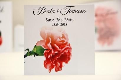 Bilecik Save The Date do zaproszenia ślubnego - Elegant nr 10 - Różowy goździk