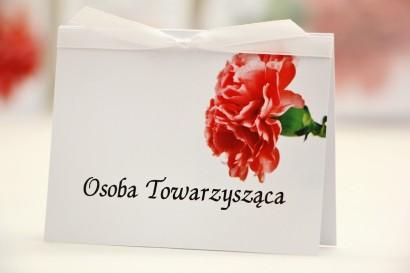 Winietki na stół weselny, ślub - Elegant nr 10 - Różowy goździk - kwiatowe dodatki ślubne