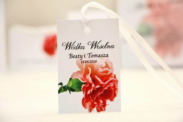 Zawieszka na butelkę, wódka weselna, ślub - Elegant nr 10 - Różowy goździk - kwiatowe dodatki ślubne