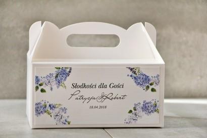 Prostokątne pudełko na ciasto, tort weselny, ślub - Pistacjowe nr 1 - Błękitne hortensje