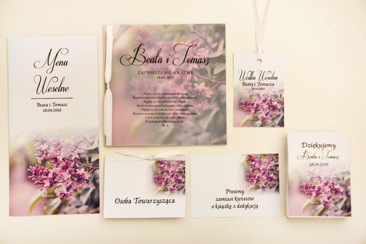 Zaproszenie ślubne z dodatkami - Elegant nr 11 - Fioletowy bez - Eleganckie kwiatowe z kalką
