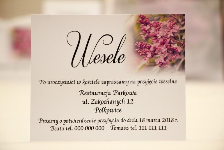Bilecik do zaproszenia 120 x 98 mm prezenty ślubne wesele - Elegant nr 11 - Fioletowe bzy