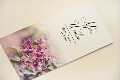 Menu weselne, stół weselny - Elegant nr 11 - Fioletowe bzy - Eleganckie kwiatowe wzory - dodatki ślubne
