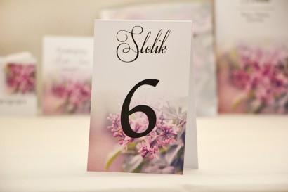 Numery stolików, stół weselny, ślub - Elegant nr 11 - Fioletowy bez - dodatki ślubne kwiatowe