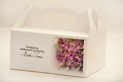 Prostokątne pudełko na ciasto, tort weselny, ślub - Elegant nr 11 - Fioletowy bez - kwiatowe dodatki ślubne