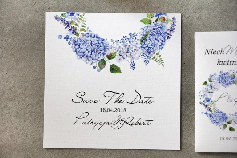 Bilecik Save The Date do zaproszenia - Pistacjowe nr 1 - Błękitne hortensje