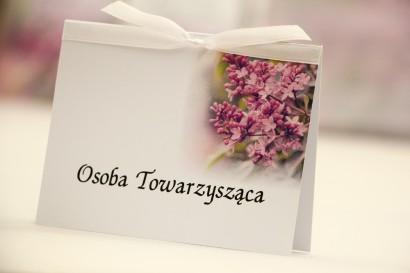 Winietki na stół weselny, ślub - Elegant nr 11 - Fioletowy bez - kwiatowe dodatki ślubne