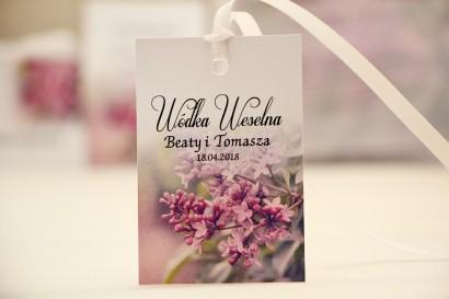 Zawieszka na butelkę, wódka weselna, ślub - Elegant nr 11 - Fioletowe bzy - kwiatowe dodatki ślubne