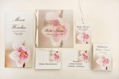 Zaproszenie ślubne z dodatkami - Elegant nr 12 - Kwiat wiśni - Eleganckie kwiatowe z kalką