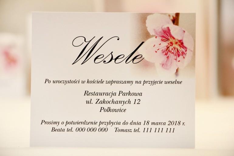 Bilecik do zaproszenia 120 x 98 mm prezenty ślubne wesele - Elegant nr 12 - Kwiat wiśni