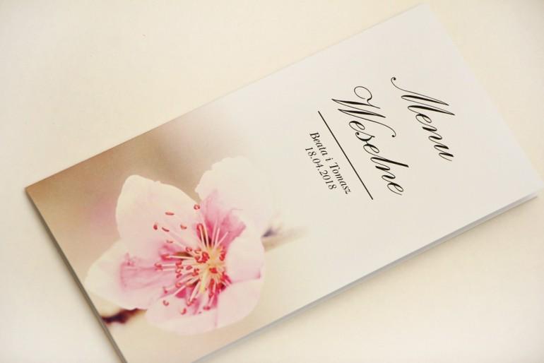 Menu weselne, stół weselny - Elegant nr 12 - Kwiat wiśni - Eleganckie kwiatowe wzory - dodatki ślubne