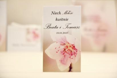 Podziękowania dla Gości weselnych - nasiona Niezapominajki - Elegant nr 12 - Kwiat wiśni - kwiatowe dodatki ślubne