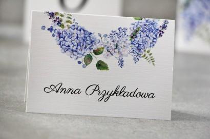 Winietki na stół weselny, ślub - Pistacjowe nr 1 - Błękitne hortensje z delikatnym akcentem zieleni