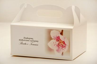 Prostokątne pudełko na ciasto, tort weselny, ślub - Elegant nr 12 - Kwiat wiśni - kwiatowe dodatki ślubne