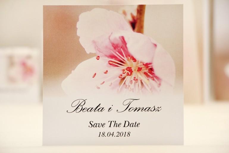Bilecik Save The Date do zaproszenia ślubnego - Elegant nr 12 - Kwiat wiśni