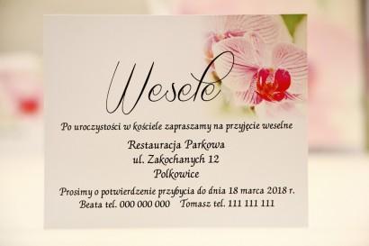 Bilecik do zaproszenia 120 x 98 mm prezenty ślubne wesele - Elegant nr 13 - Różowe orchidee