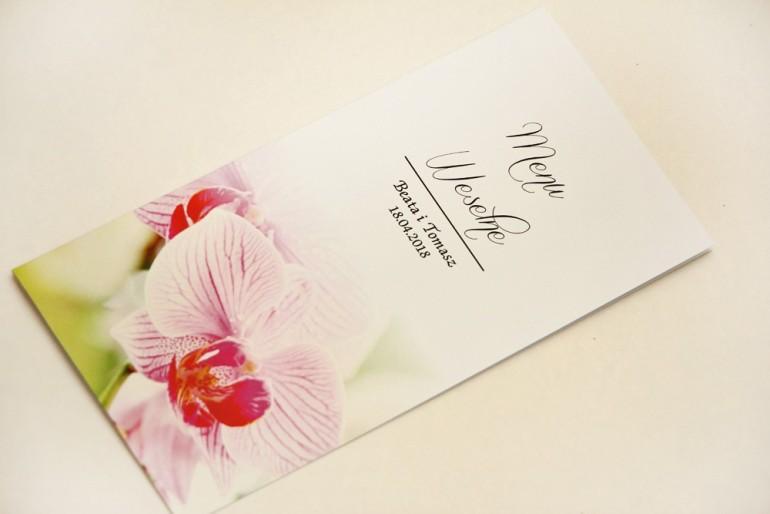 Menu weselne, stół weselny - Elegant nr 13 - Różowe orchidee - Eleganckie kwiatowe wzory - dodatki ślubne