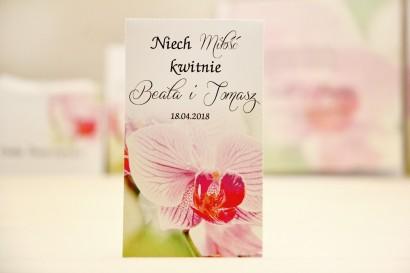 Podziękowania dla Gości weselnych - nasiona Niezapominajki - Elegant nr 13 - Orchidea - kwiatowe dodatki ślubne