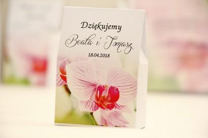 Pudełeczko stojące na cukierki, podziękowania dla Gości weselnych - Elegant nr 13 - Różowa orchidea - Kwiatowe dodatki ślubne