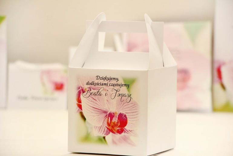 Pudełko na ciasto kwadratowe, tort weselny - Elegant nr 13 - Orchidea - kwiatowe dodatki ślubne