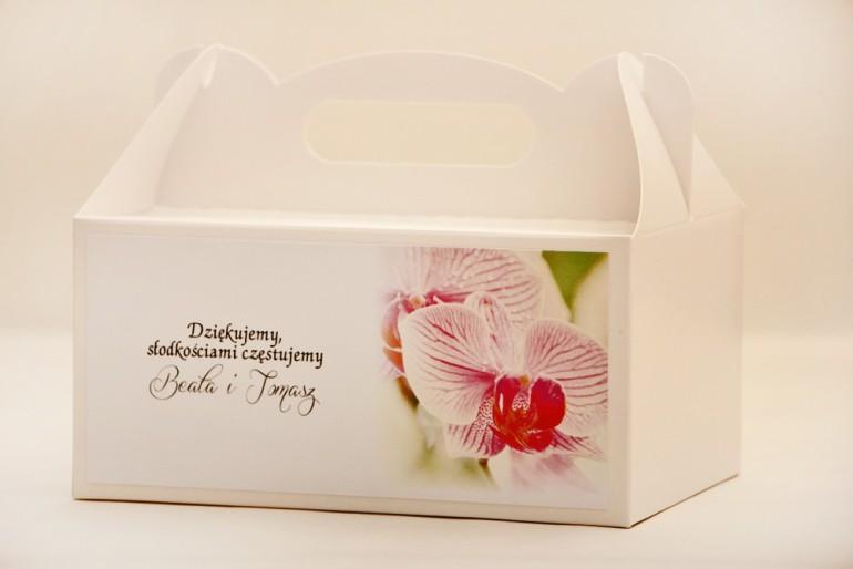Prostokątne pudełko na ciasto, tort weselny, ślub - Elegant nr 13 - Orchidea - kwiatowe dodatki ślubne