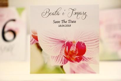 Bilecik Save The Date do zaproszenia ślubnego - Elegant nr 13 - Różowe orchidee