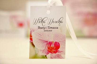 Zawieszka na butelkę, wódka weselna, ślub - Elegant nr 13 - Orchidea - kwiatowe dodatki ślubne