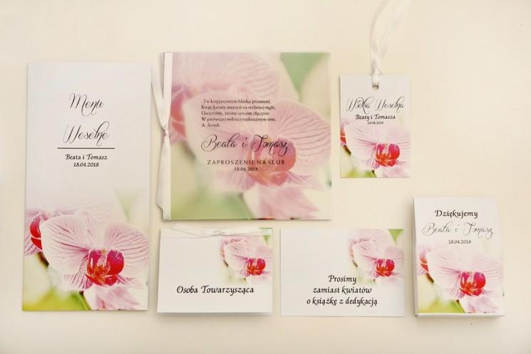 Zaproszenie ślubne z dodatkami - Elegant nr 13 - Różowe orchidee - Eleganckie kwiatowe z kalką