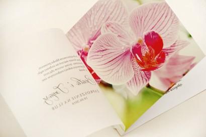 Zaproszenie ślubne, zaproszenia na ślub eleganckie z kalką - Elegant nr 13 - Różowe orchidee