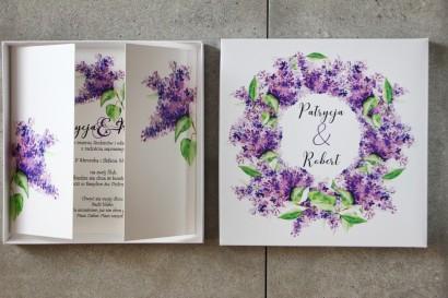 Efektowne Zaproszenie ślubne w pudełku - Pistacjowe nr 2 - Fioletowy bez