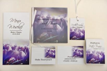 Zaproszenie ślubne z dodatkami - Elegant nr 14 - Fioletowe krokusy - Eleganckie kwiatowe z kalką