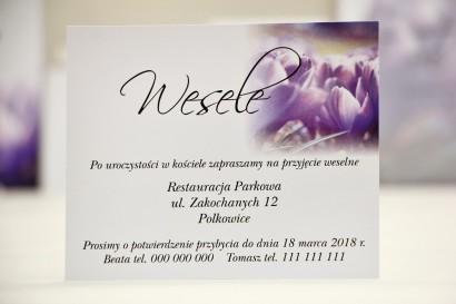 Bilecik do zaproszenia 120 x 98 mm prezenty ślubne wesele - Elegant nr 14 - Fioletowe krokusy