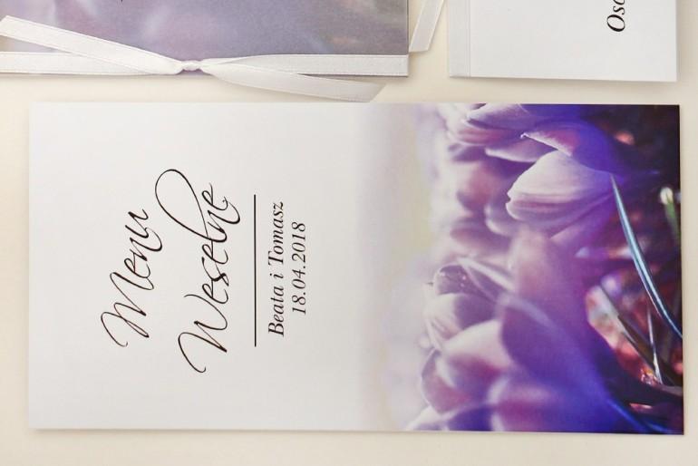 Menu weselne, stół weselny - Elegant nr 14 - Fioletowe krokusy - Eleganckie kwiatowe wzory - dodatki ślubne