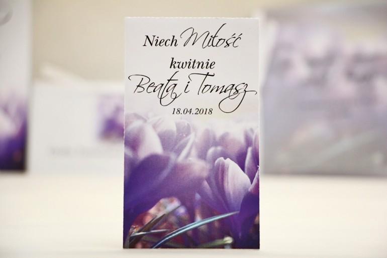 Podziękowania dla Gości weselnych - nasiona Niezapominajki - Elegant nr 14 - Fioletowe krokusy - kwiatowe dodatki ślubne