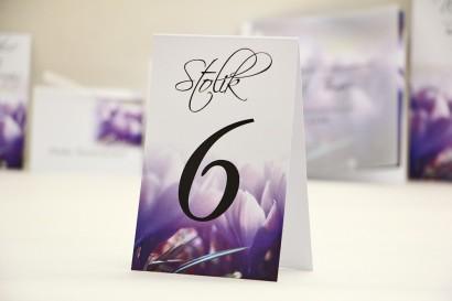 Numery stolików, stół weselny, ślub - Elegant nr 14 - Fioletowe krokusy - Dodatki ślubne