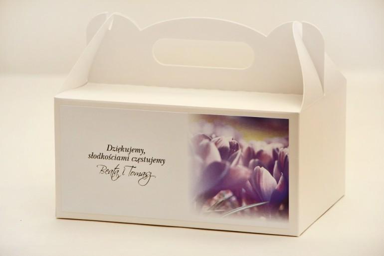Prostokątne pudełko na ciasto, tort weselny, ślub - Elegant nr 14 - Fioletowe krokusy - kwiatowe dodatki ślubne
