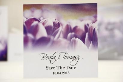 Bilecik Save The Date do zaproszenia ślubnego - Elegant nr 14 - Fioletowe krokusy