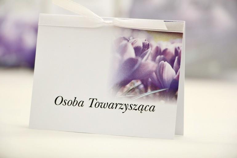 Winietki na stół weselny, ślub - Elegant nr 14 - Fioletowe krokusy - kwiatowe dodatki ślubne